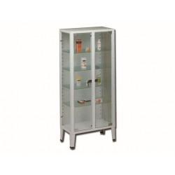 ARMOIRE - 2 portes - 4 étagères - verre tempéré